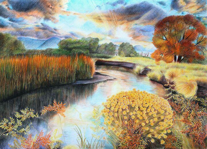 大师彩铅手绘风景画图片